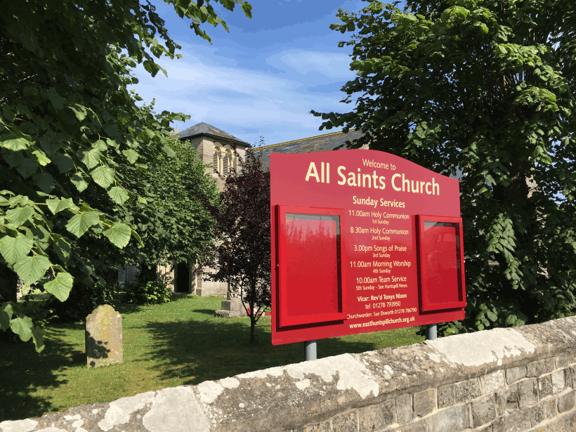 church notice board red aluminium classic