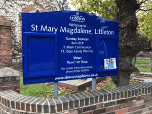 church noticeboard blue aluminium classic