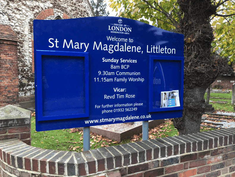 church noticeboard blue aluminium classic