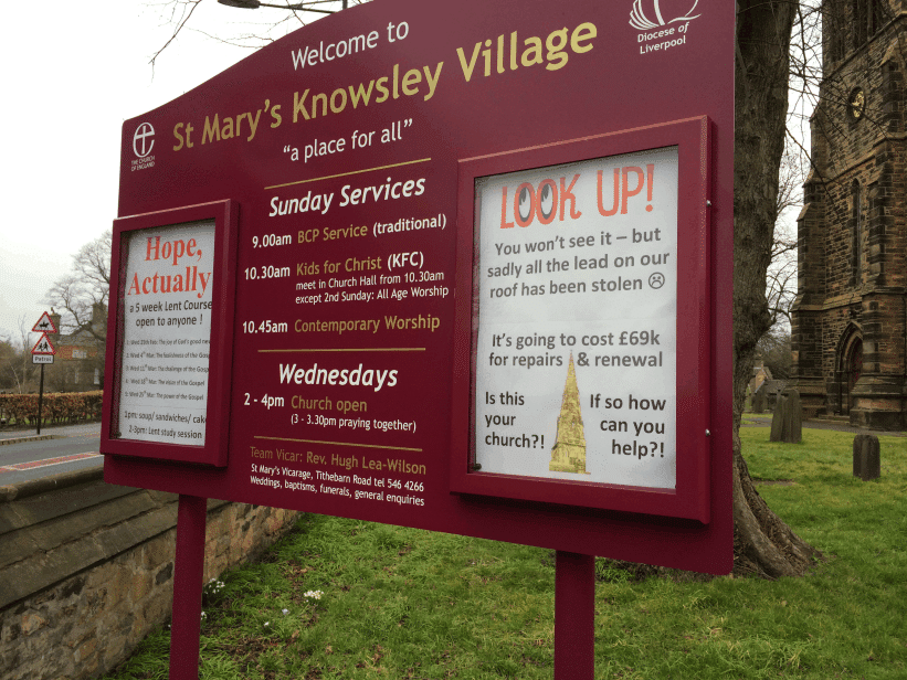 church noticeboard maroon aluminium classic