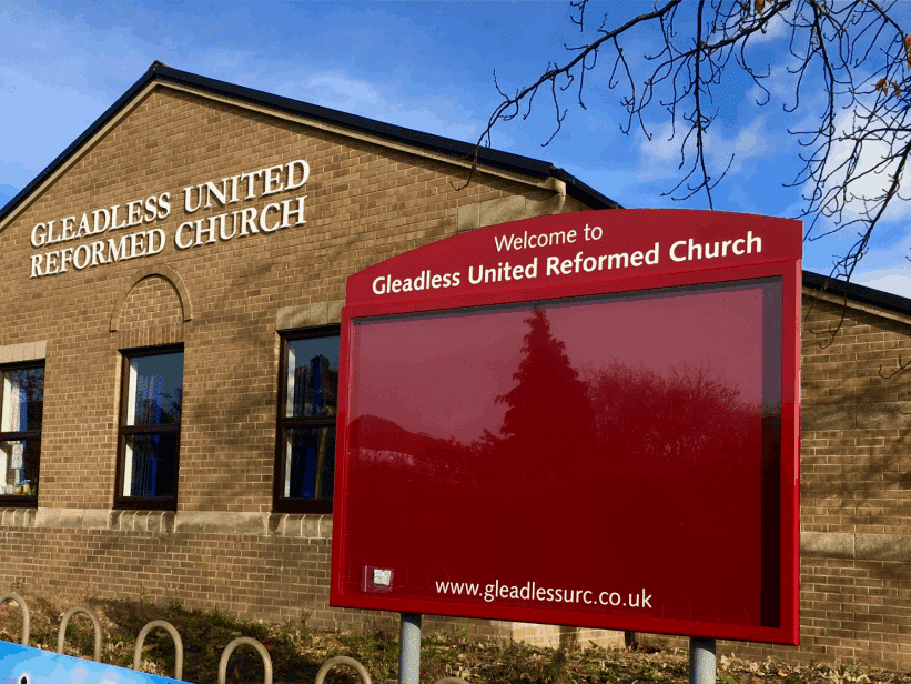 complementary aluminium church noticeboard poster case