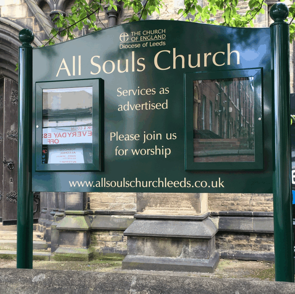 church notice board green aluminium