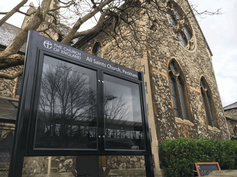 prestige range aluminium church noticeboard