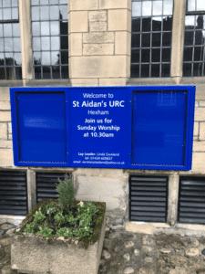 church notice board blue aluminium prestige wall-mounted