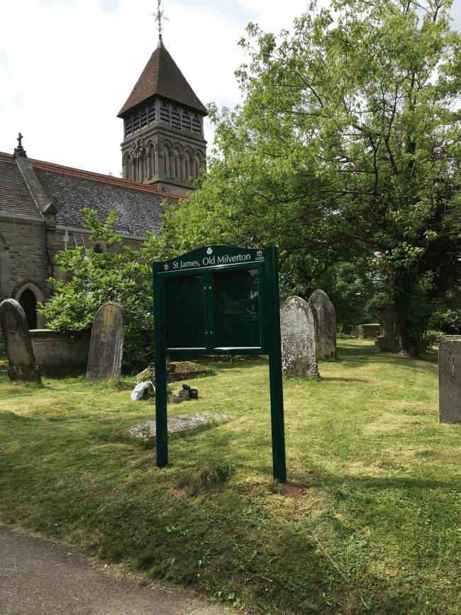 church notice board green aluminium prestige