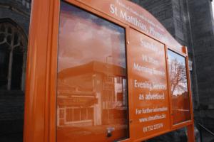church notice board orange aluminium prestige
