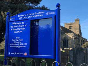 church notice board blue aluminium prestige