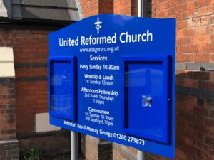 church notice board blue aluminium classic