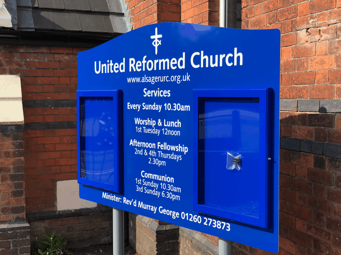 church notice board blue aluminium classic