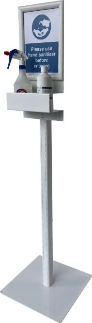 standard sanitising station with clip frame